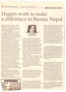 Burlington Post - Sew On Fire Makes a Difference in Russia and Nepal - May 2000